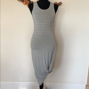 Express gray and white striped fitted sundress